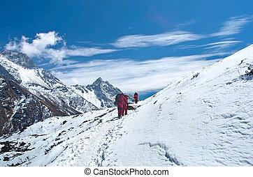carga, nepal, pesado, zeladores