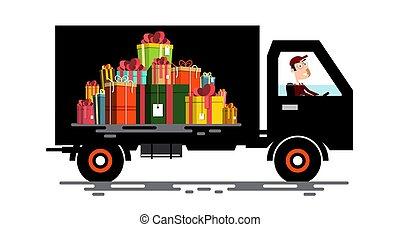 carga, presente, car, motorista, caixas, vetorial, vehicle., pile.