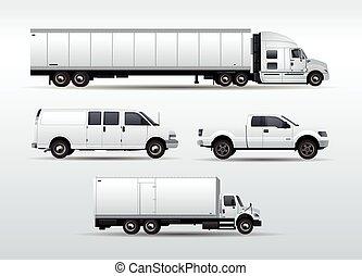 carga, transporte, caminhões, isolado, cobrança, vetorial, ilustração, fundo, branca