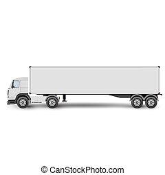 carga, transporte, grande, isolado, ilustração, vetorial, caminhão, fundo, branca, trator