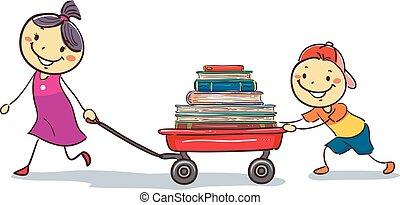 carga, vagão, crianças, livros, puxando, vara