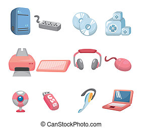 caricatura, ícone, computador