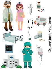 caricatura, ícone, hospitalar