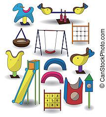 caricatura, ícone, parque, pátio recreio