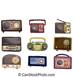 caricatura, ícone, rádio