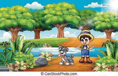 caricatura, agricultor, parque, cão, jovem
