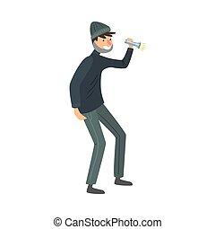 caricatura, apartamento, ficar, pretas, style., lanterna, roupas, vetorial, ladrão, mão., ilustração