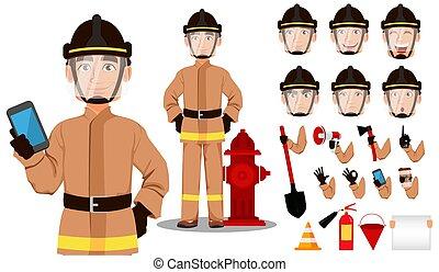 caricatura, bombeiro, personagem
