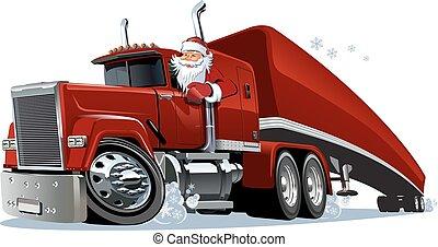 caricatura, caminhão, retro, natal
