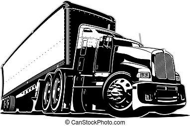 caricatura, caminhão, semi