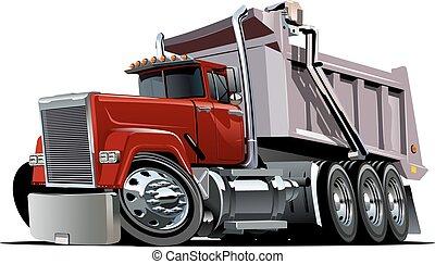 caricatura, caminhão, vetorial, entulho