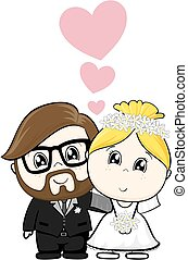 caricatura, casório