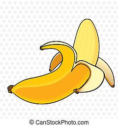 caricatura, casca banana