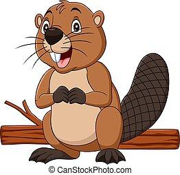 caricatura, castor, feliz, madeira