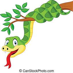 caricatura, cobra, ramo, verde