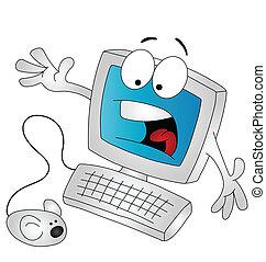 caricatura, computador