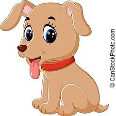 caricatura, cute, cão, bebê