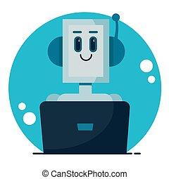 caricatura, cute, concept., conversa, serviço, robô, apartamento, bot., sorrindo, vetorial, ilustração, apoio