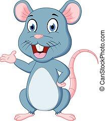 caricatura, cute, rato