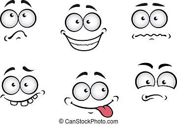 caricatura, emoções, caras