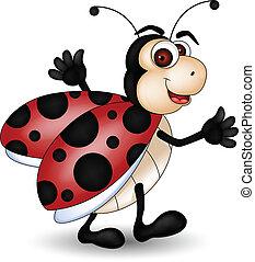 caricatura, engraçado, ladybug