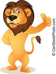 caricatura, engraçado, leão