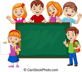caricatura, escola, chalkboard, crianças
