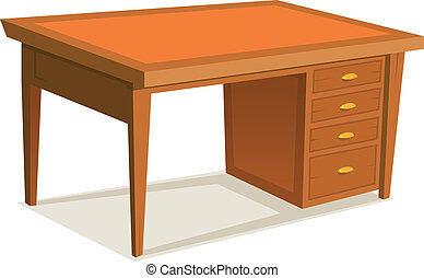caricatura, escrivaninha escritório