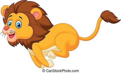 caricatura, executando, leão, cute