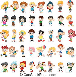 caricatura, feliz, crianças, grupo