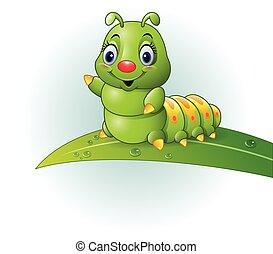 caricatura, folha verde, lagarta
