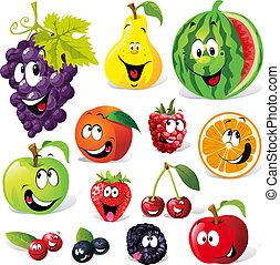 caricatura, fruta, engraçado