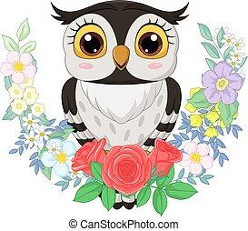 caricatura, fundo, coruja, flores