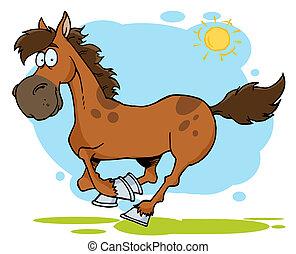 caricatura, galloping, cavalo