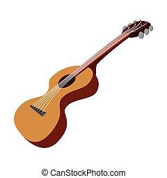 caricatura, guitarra, ícone