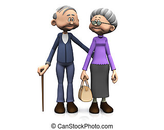 caricatura, idoso, par.
