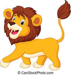 caricatura, leão, andar
