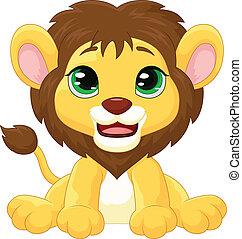 caricatura, leão, cute