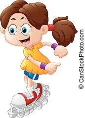 caricatura, menina, rolo patinando