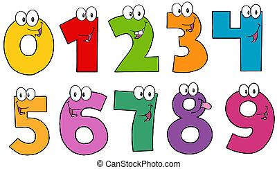 caricatura, números, caráteres, mascote