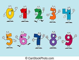 caricatura, números, jogo, engraçado