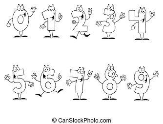 caricatura, números, jogo, esboçado