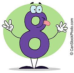 caricatura, numbers-8, engraçado