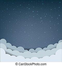caricatura, nuvem céu, estrelas