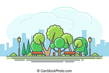 caricatura, parque, gramado
