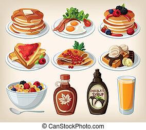 caricatura, pequeno almoço, jogo, clássicas