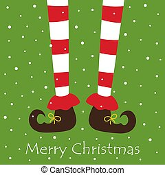 caricatura, pernas, duende, isolado, natal, branca