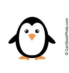 caricatura, pingüim, cute