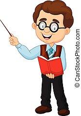 caricatura, professor, macho