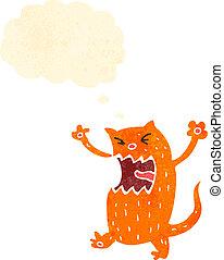 caricatura, retro, gato gengibre